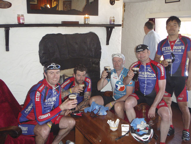 A deserved pint during the Tour de Burren 2010